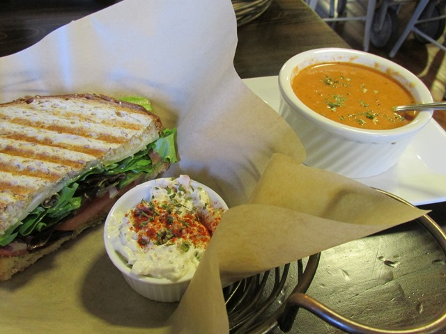 Sandwich, Potato Salad, and Tomato Basil Soup